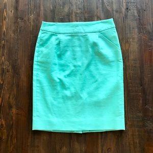 J. Crew Pencil Skirt w/ pockets (Mint green)